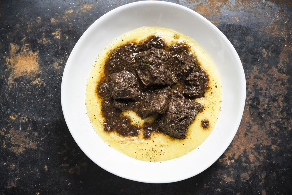 Tuscan beef and black pepper stew (peposo alla fornacina). When making this recipe, don't be shy about trimming the fat from the chuck roast. Remove as much as you can, which may mean shedding about 1 pound. Pull the roast apart at the natural seams, then use a sharp knife to trim the fat and cut the pieces into 2-inch chunks.
