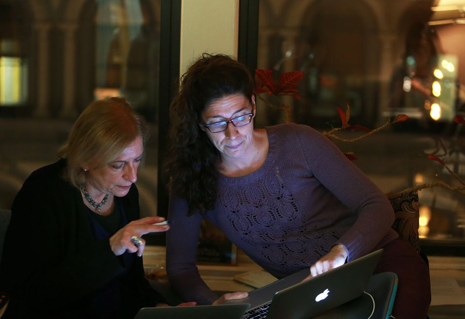 Camille DeAngelis (right) taught the writers about using Twitter.