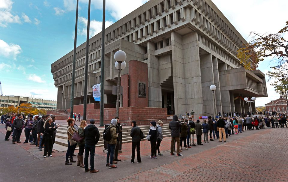 Long lines stretched around Boston City Hall on the last day of early voting.