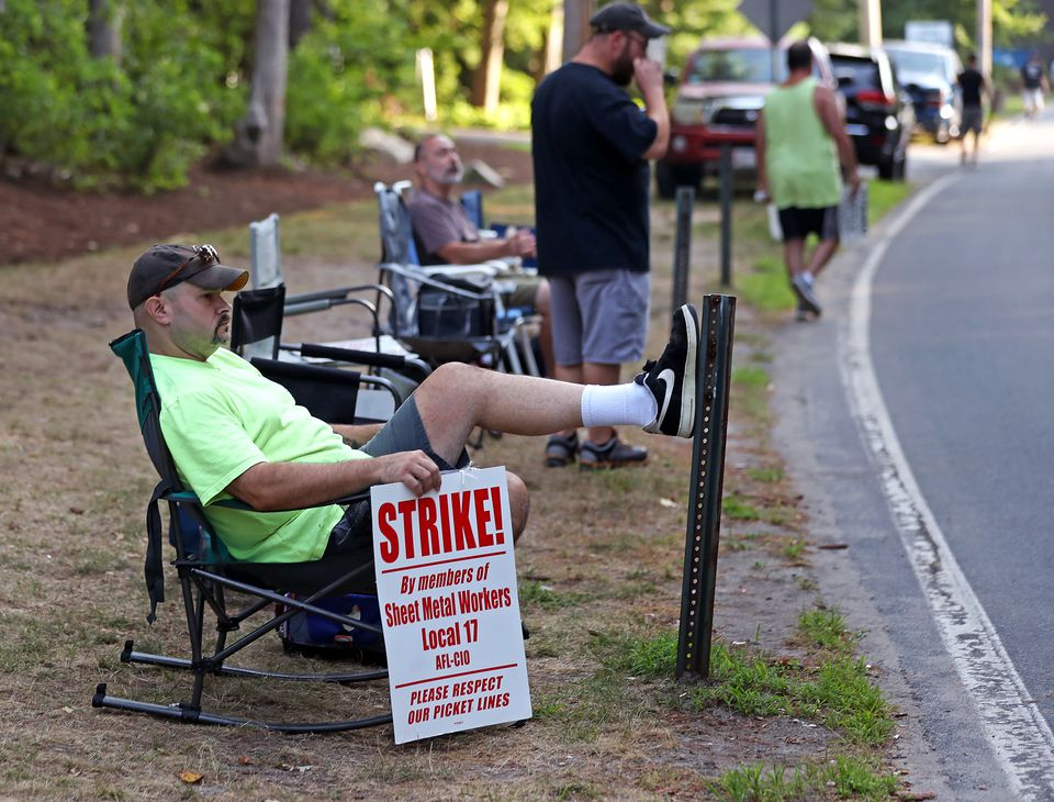 Mike Moon on strike sat on the line. Sheet metal workers picketed on Wednesday at McCusker-Gill in Hingham. They're seeking a contract that helps make up for concessions they made in the last recession.
