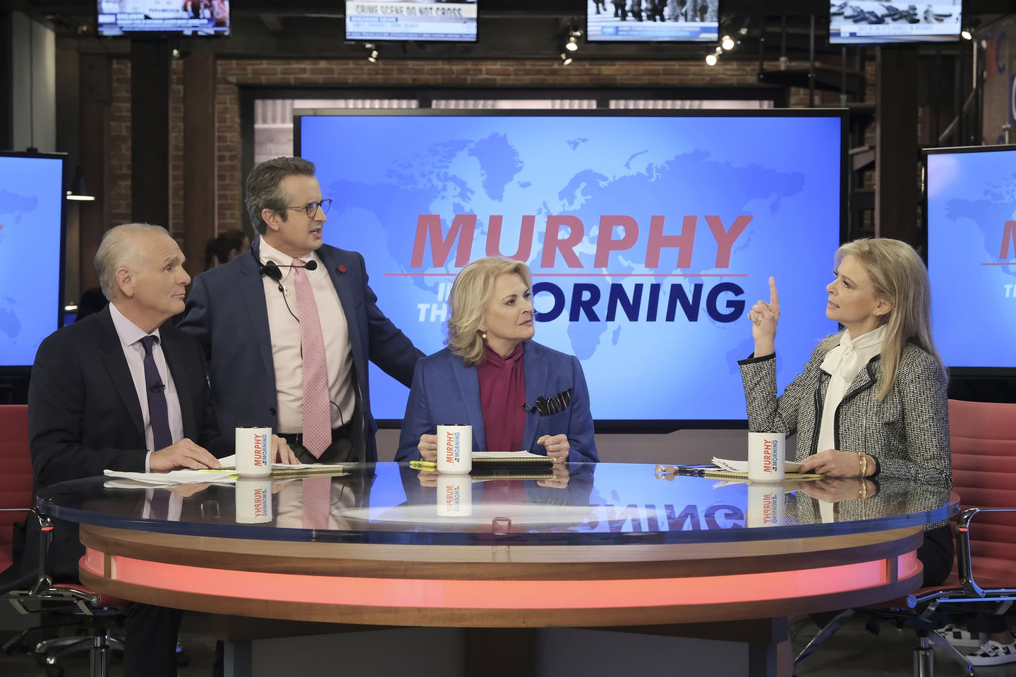 Pictured L-R: Joe Regalbuto as Frank Fontana, Grant Shaud as Miles Silverberg, Candice Bergen as Murphy Brown, and Faith Ford as Corky Sherwood in CBS's Murphy Brown.