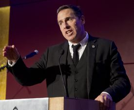 Filmmaker David O. Russell speaks at the Light Up the Night Gala for Autism.