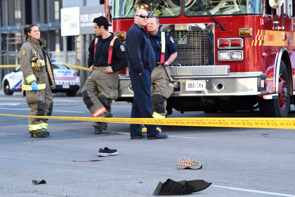 Shoes laid on the street as first responders secured the area.