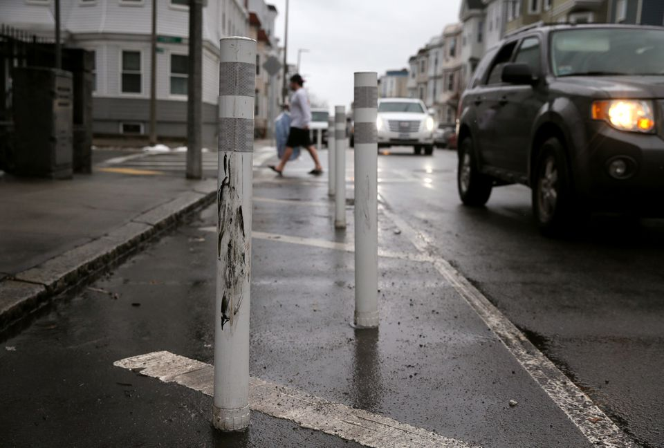 Safety pylons have been installed at the intersection of L Street and Sixth Street in South Boston, where a van hurtled onto the sidewalk after a collision, killing Colin McGrath.