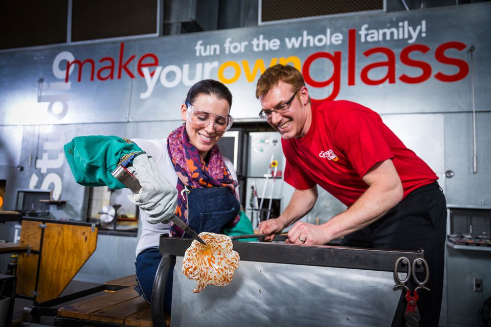 Making glass at the Corning Museum of Glass in upstate New York.
