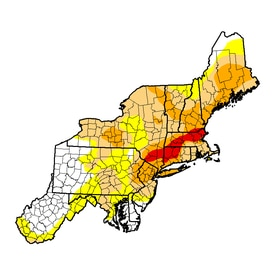The area shown in red is experiencing an extreme drought. Dark orange represents a severe drought; orange a moderate drought; and yellow signifies abnormally dry conditions.