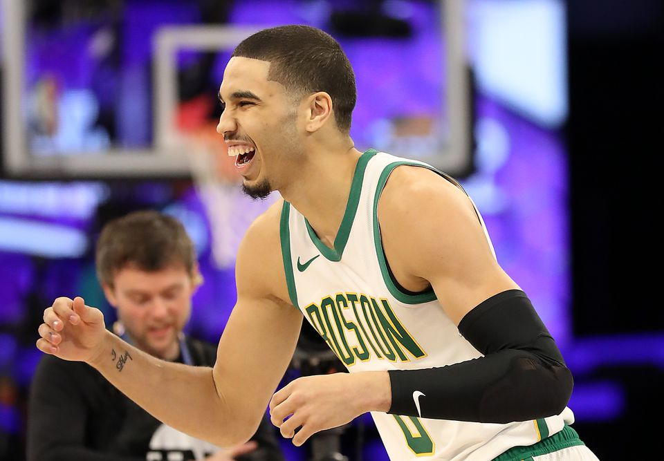 Jayson Tatum celebrates during his victorious run in the NBA All-Star Skills Challenge on Saturday night in Charlotte, N.C.
