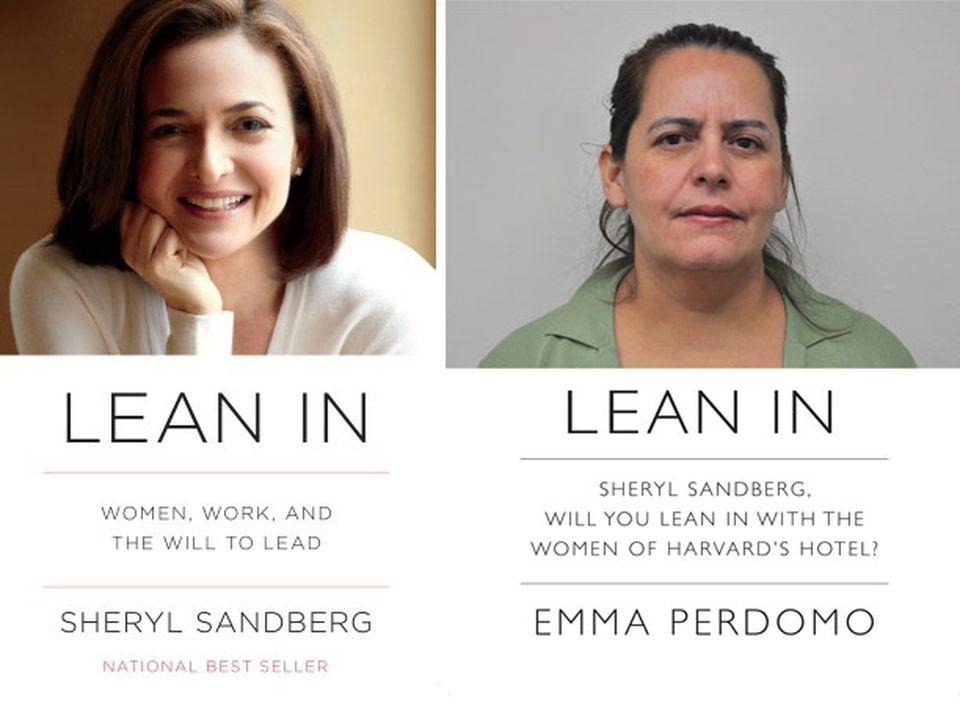 Emma Perdomo (right) is depicted on a fliter modeled after Sheryl Sandberg's best-selling book (left).