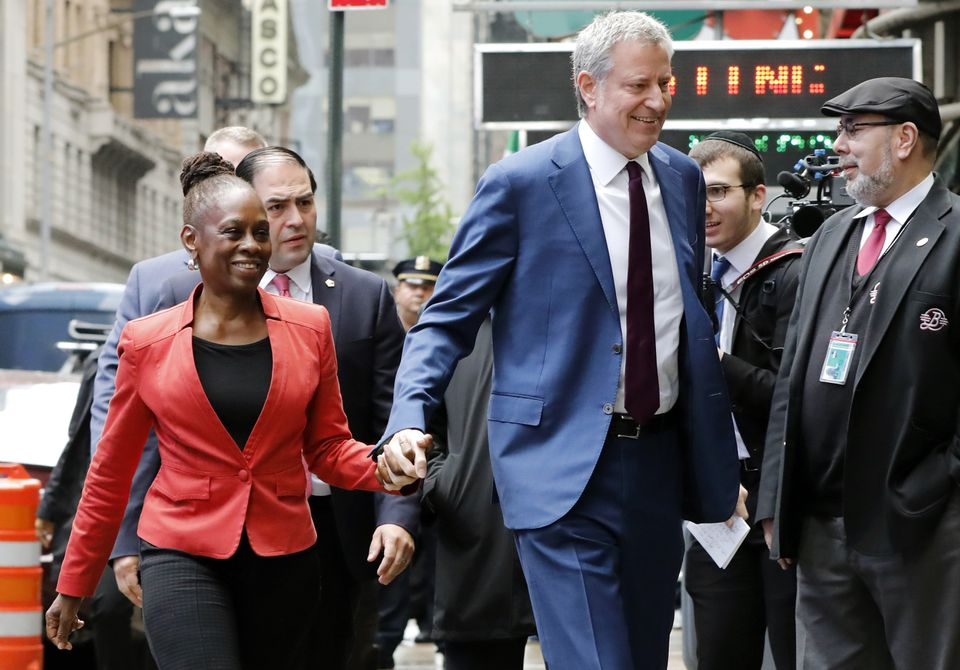 """New York Mayor Bill de Blasio and his wife Chirlane McCray arrived at """"Good Morning America"""" in New York, Thursday."""