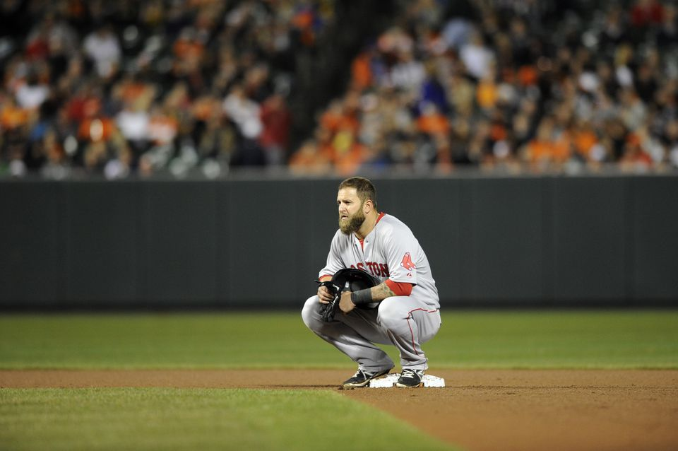 Mike Napoli looked on during a pitching change in the seventh inning Wednesday.