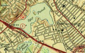 A map depicting Spy Pond in Arlington.