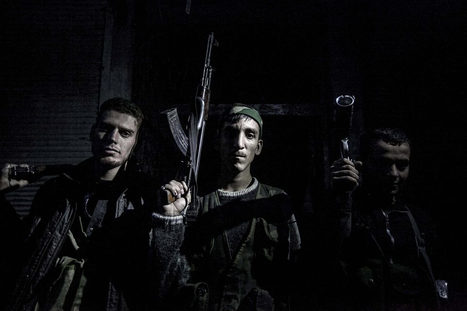 Syrian rebel fighters posed for a photo after several days of intense clashes with the Syrian army in Aleppo, Syria, in October.