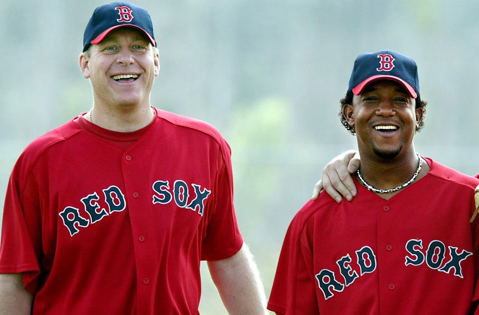 Two of the stars of the 2004 curse-breaking Red Sox team  — Curt Schilling (left) and Pedro Martinez — are on Dan Shaughnessy's Hall of Fame ballot.