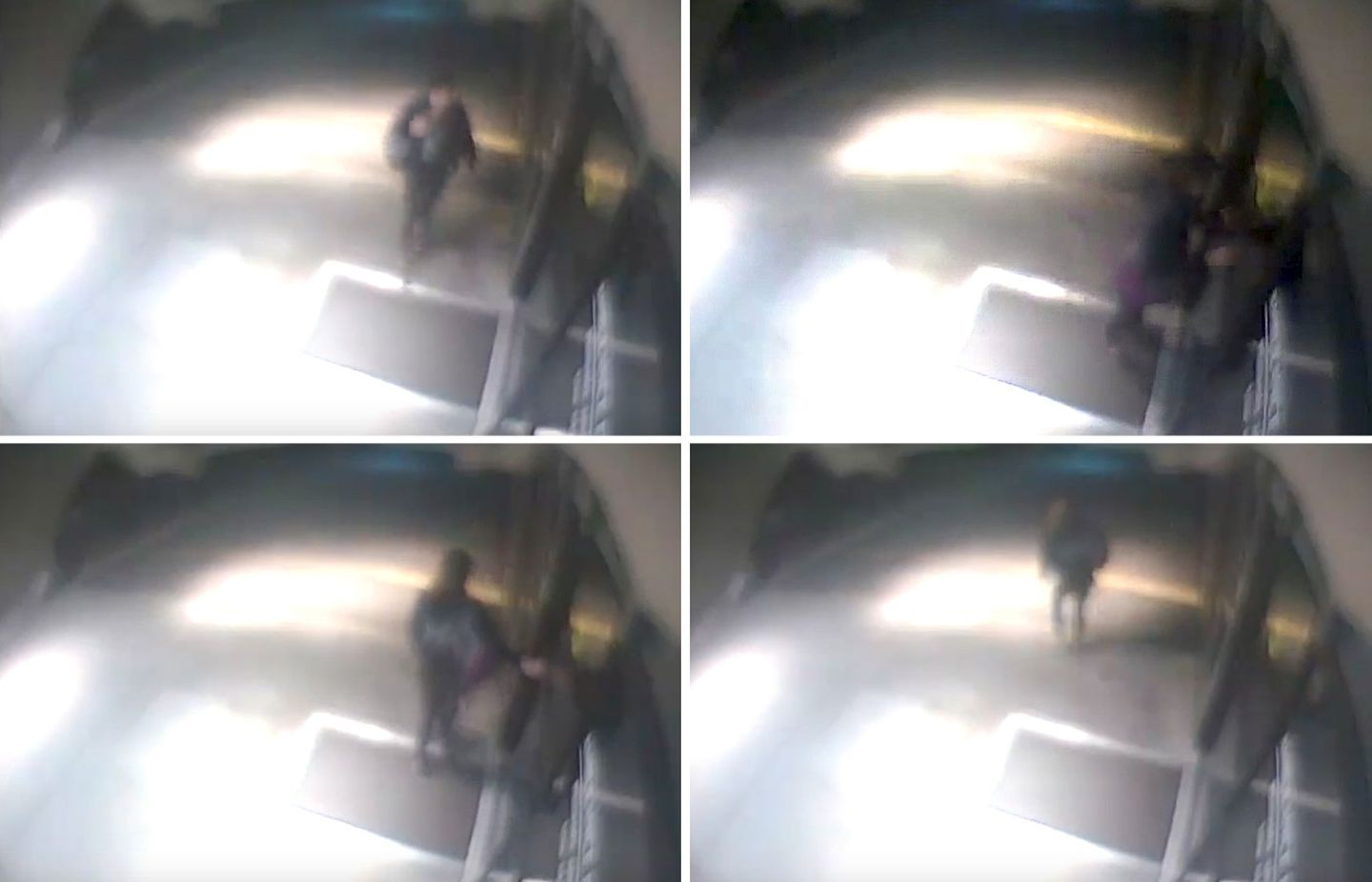 A series of images from surveillance video shows Laura Levis as she approaches a door at Somerville Hospital and finds it locked.