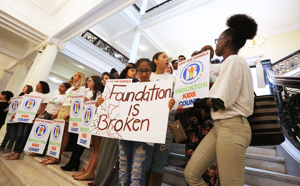 Brockton High School students rallied at the State House for school funding on May 10.