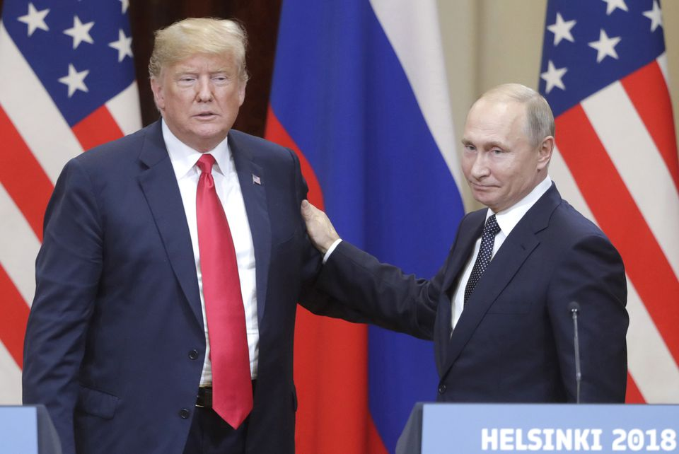 President Trump and Russian President Vladimir Putin at a press conference in Helsinki in July.
