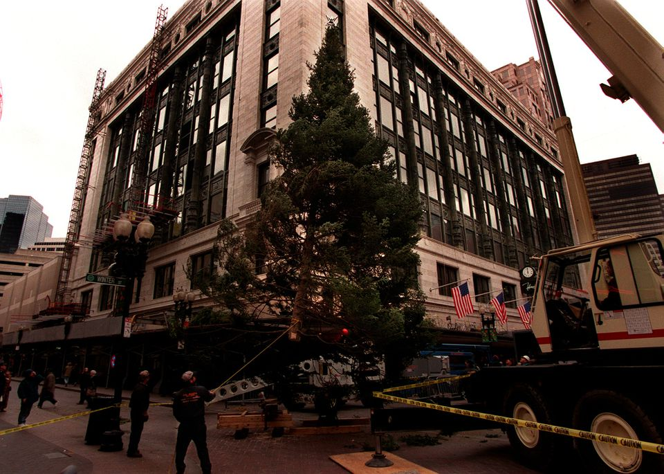 A Christmas tree was raised into place at Filene's department store in Downtown Crossing in this 1998 file photo.