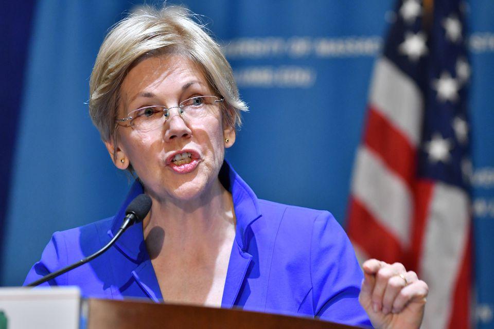 Elizabeth Warren at UMass Boston last month.