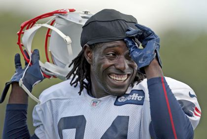 2190a15255413a Deion Branch at Patriots practice in 2012, two years after he returned to  the team