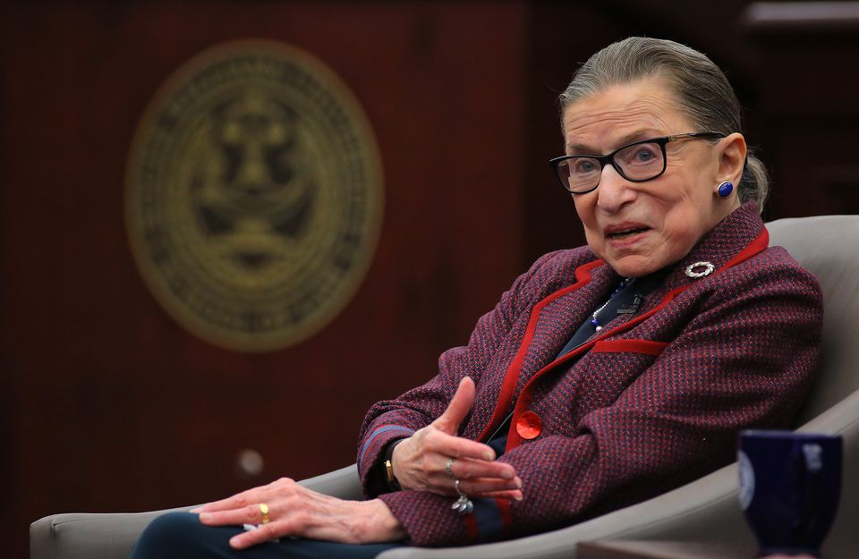 """Ruth Ginsburg answered audience questions during a """"fireside chat"""" at Roger Williams University Law School."""