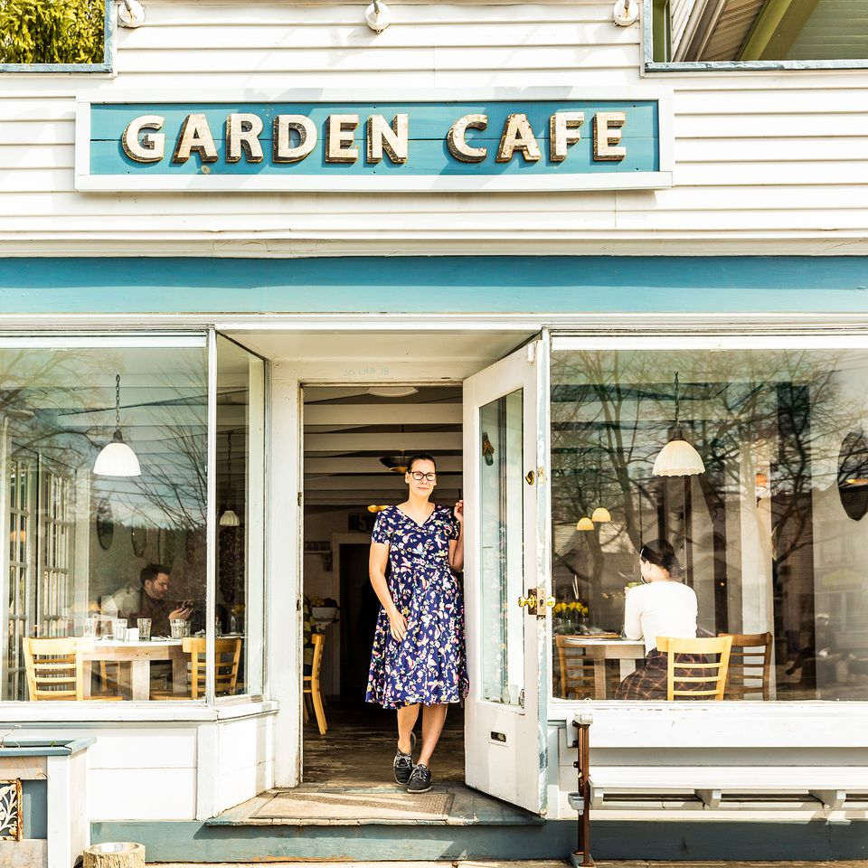 Owner Lea Haas outside the Garden Cafe.