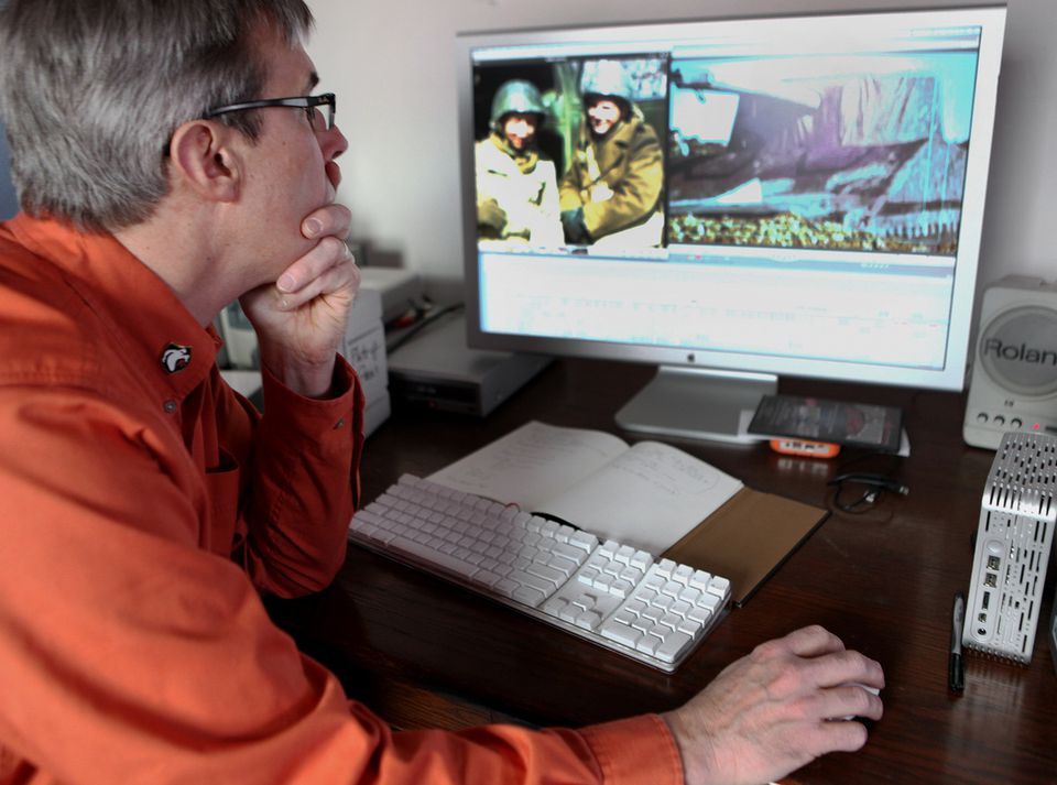 """Rick Beyer editing """"The Ghost Army"""" last year. The documentary has its world premiere at Salem Film Fest."""