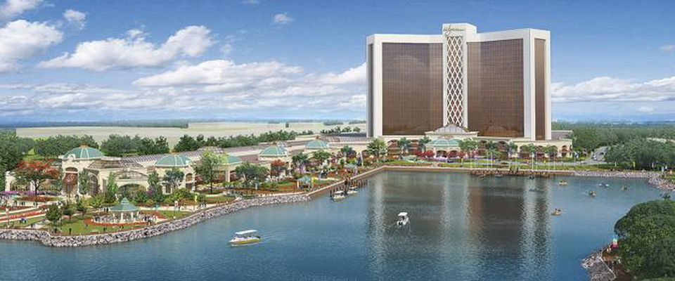 This artist's rendering shows a proposed resort casino on the banks of the Mystic River in Everett. Casino opponents have asked the Supreme Judicial Court to permit a measure seeking the repeal of the state casino law to appear on the November ballot.