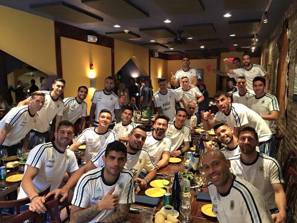 Lionel Messi (bottom right, second from front) and Argentina's men's soccer team at Tango Restaurant on Sunday.