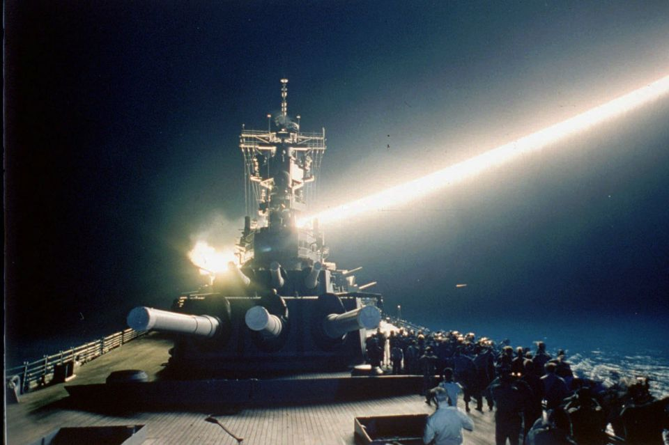 A Tomahawk cruise missile lit up the night sky as it was fired from the USS Wisconsin, Jan. 18, 1991.