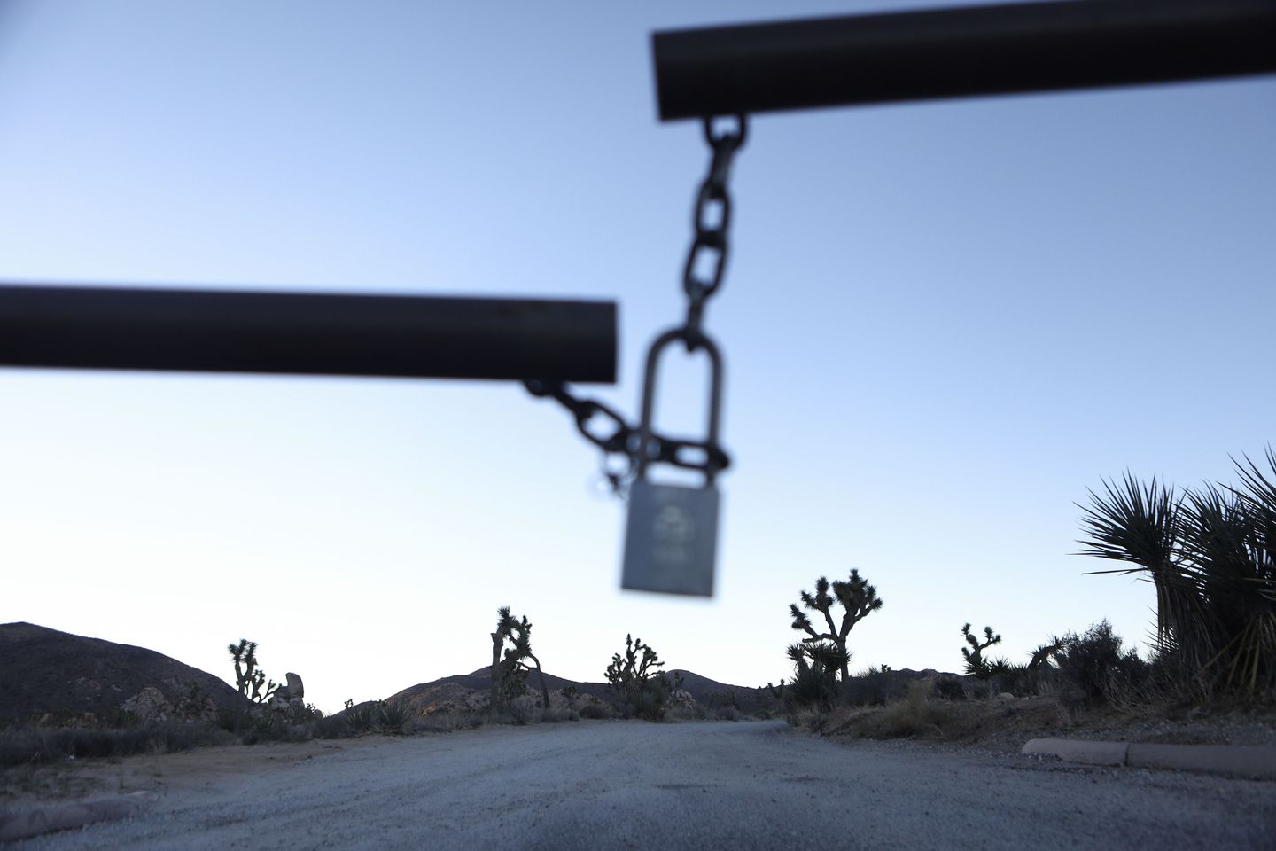 The entrance gate to a campground was locked at Joshua Tree National Park.