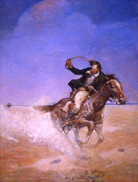 """""""Abe Catherson Pursues Masten Across the Desert"""" is part of """"Frank E. Schoonover: American Visions,"""" at the Norman Rockwell Museum through May 27."""