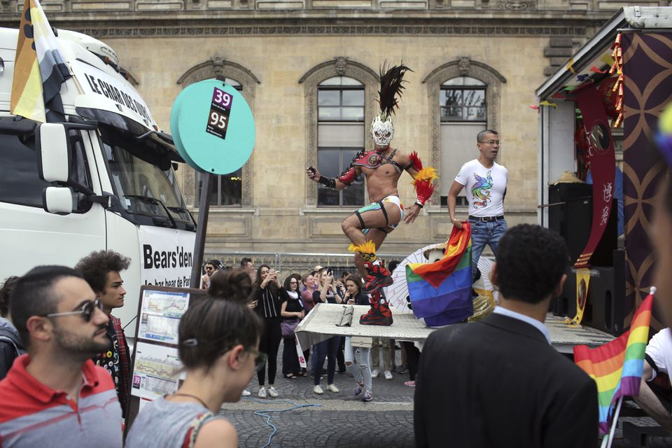 In 2016, a reveler danced during the annual Gay Pride march in Paris.