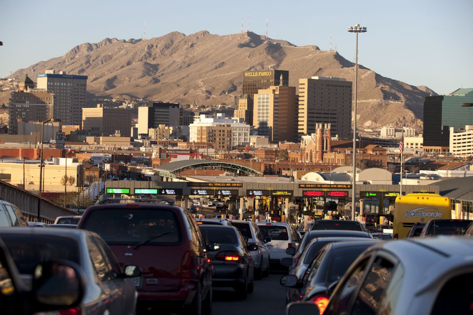 The border between Ciudad Juárez and El Paso. Mexico's manufacturing pay scale was about 18 percent of US wages.