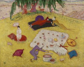"""Florine Stettheimer's """"Picnic at Bedford Hills,"""" from """"Women Modernists in New York"""" at the Portland Museum of Art."""