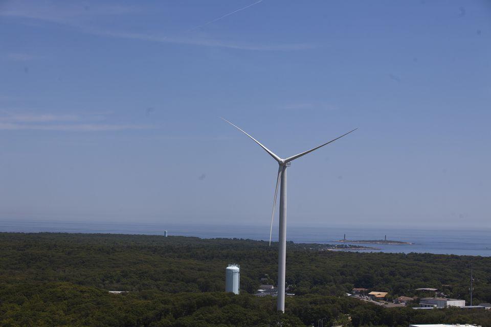 A wind turbine in Gloucester's Blackburn Industrial Park.