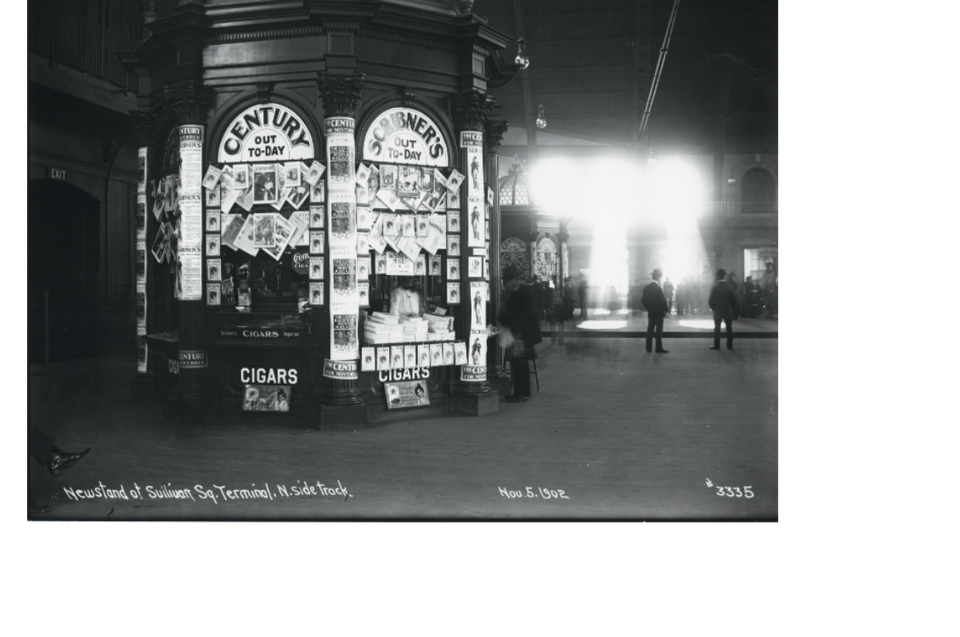 When print was on the rise — a newsstand at Sullivan Square Terminal in 1902.