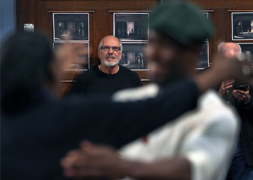 """Playwright Michael Cristofer (above) watches Kyle Vincent Terry (top left) and John Douglas Thompson (top right) during a rehearsal of """"Man in the Ring."""""""