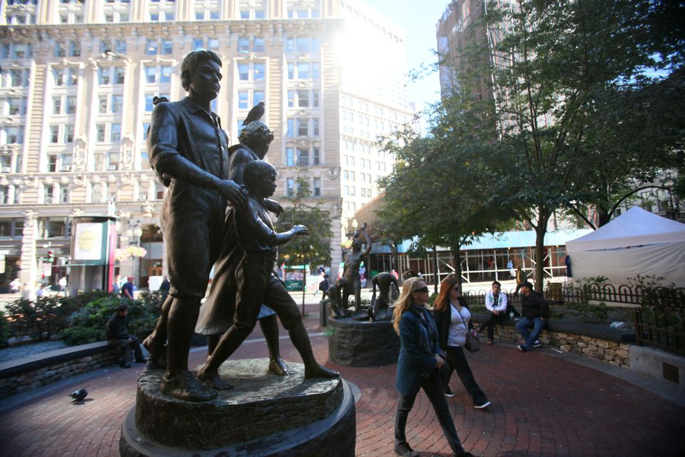 The Boston Irish Famine Memorial is at the corner of Washington and School streets.
