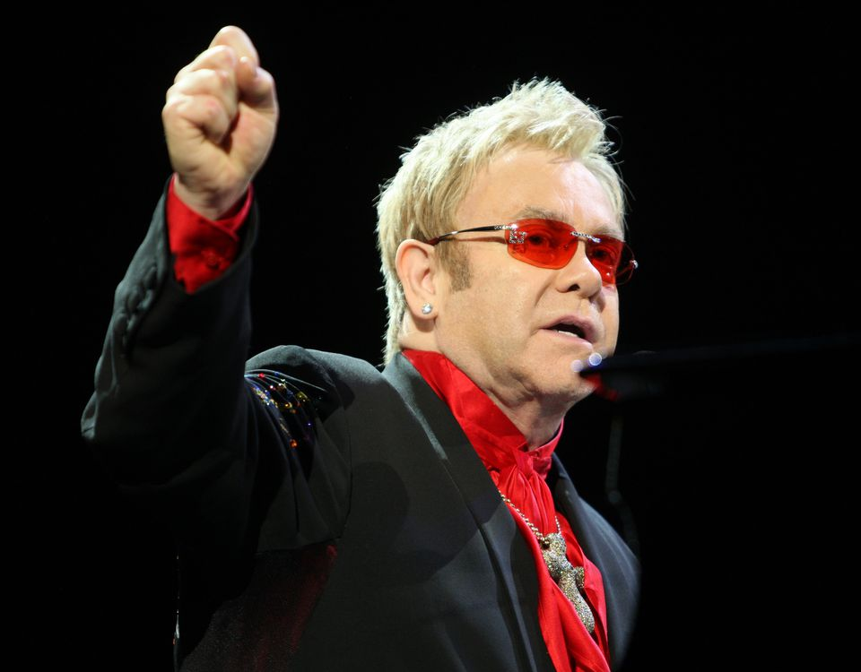 Elton John performs at Radio City Music Hall during a fundraiser for Democratic presidential hopeful Hillary Clinton on April 9, 2008.