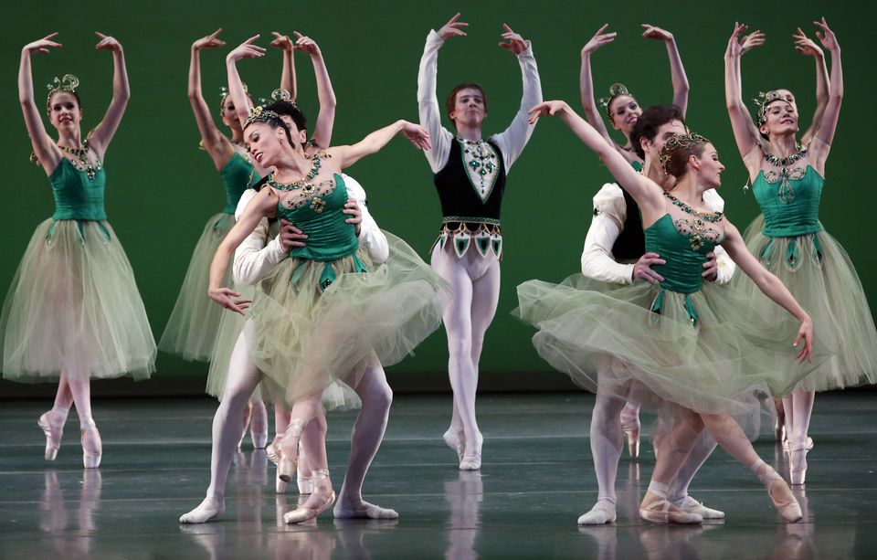 """Boston Ballet dancers rehearse the """"Emeralds"""" portion of George Balanchine's """"Jewels"""" at the Boston Opera House Thursday."""