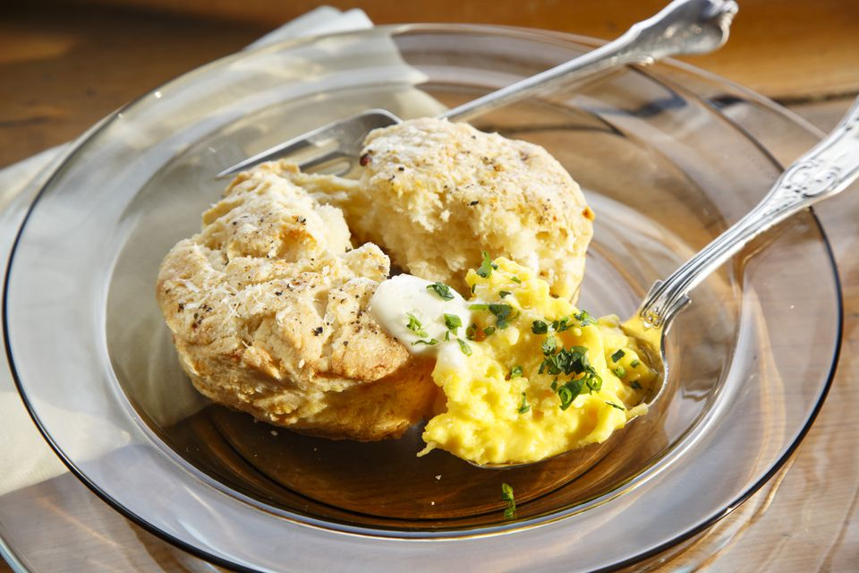 Cheesy biscuits and scrambled eggs.