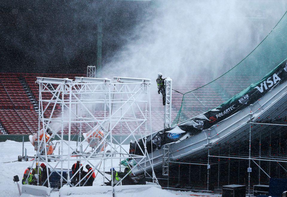 Snow guns were blasting away on Monday.