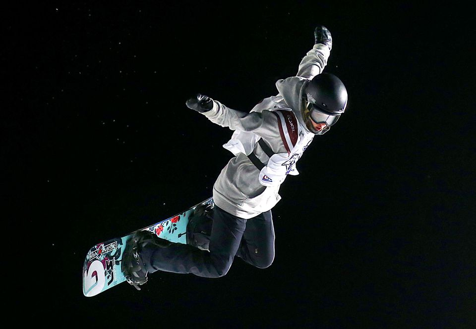 Julia Marino of Westport, Conn., won the women's snowboard competition at the Big Air event at Fenway Park.