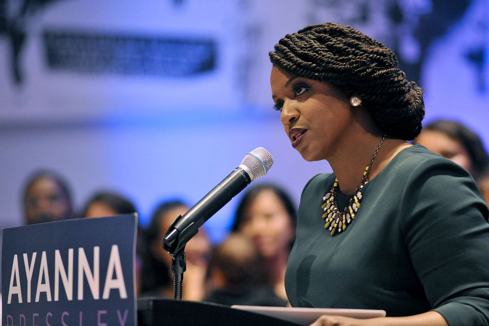 Ayanna Pressley delivers her victory speech at the IBEW Local 103 in Dorchester, on September 4.