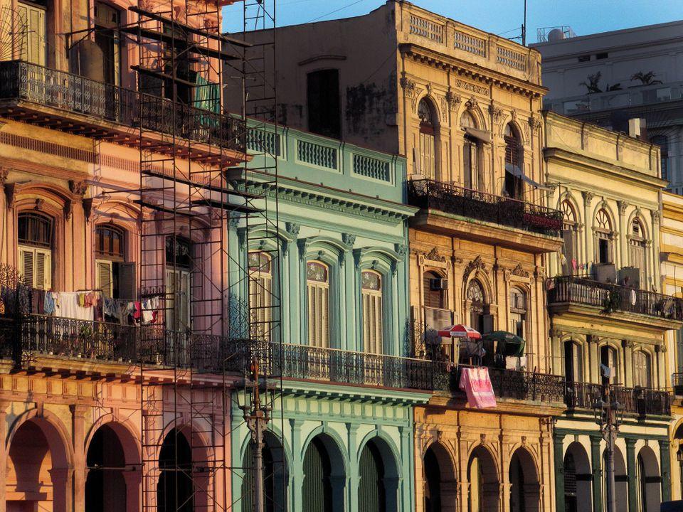 Old Havana streetfront buildings.