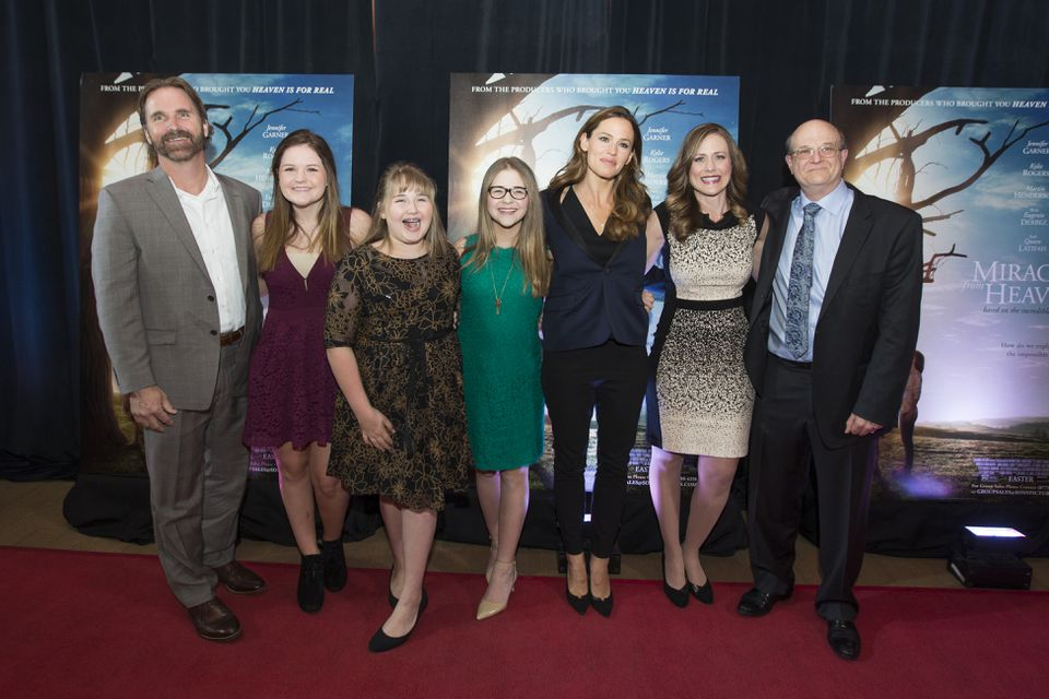 "From left: Kevin, Abbie, Adelynn, and Annabel Beam, Jennifer Garner, Christy Beam, and Dr. Samuel Nurko on the red carpet at the opening night of ""Miracles From Heaven"" in Chestnut Hill earlier this month."