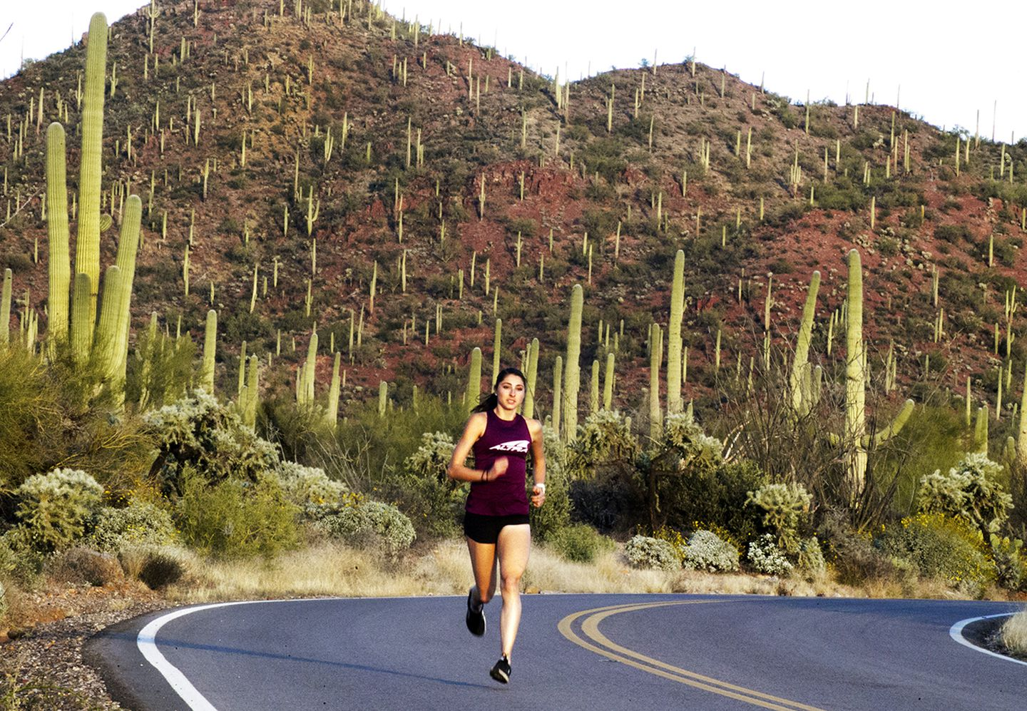 Sarah Sellers, seen training in Tucson, got a mountain of publicity after last year's second-place finish in Boston.