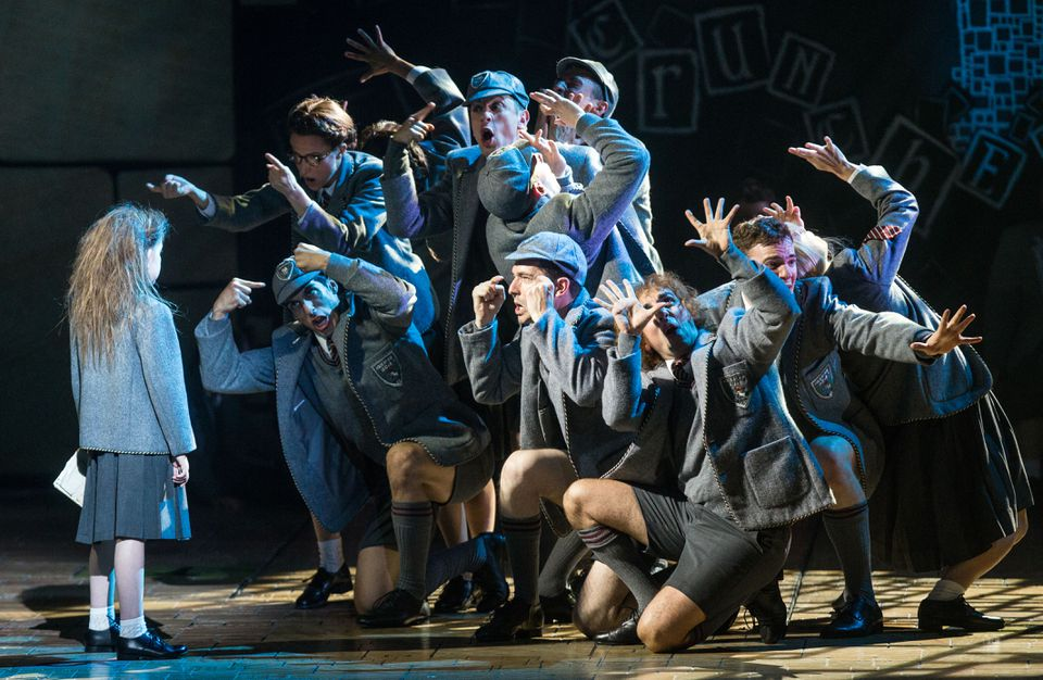 """Sarah McKinley Austin (left) in the title role of """"Matilda the Musical"""" at the Boston Opera House."""