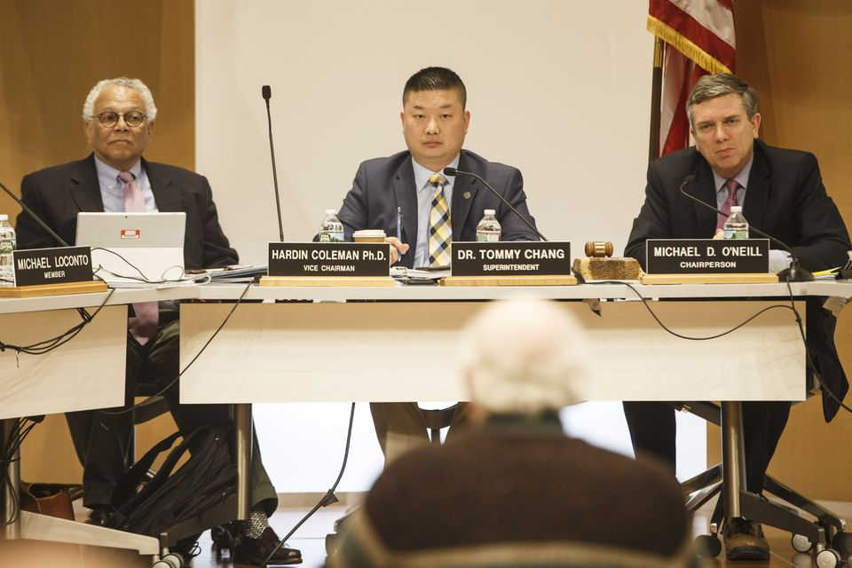BPS Superintendent Tommy Chang (center) and Boston School Committee Chairman Michael O'Neill (right) were among the public officials to react to the deal Thursday.