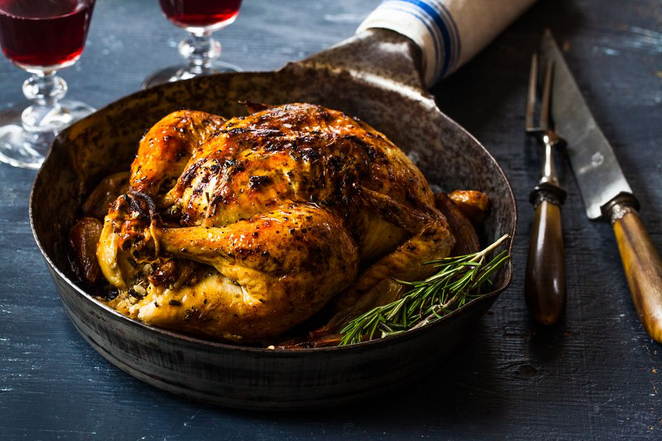 Roast chicken with Meyer lemon and shallots